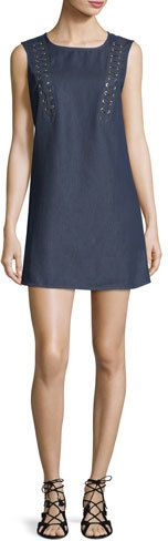 True Religion Lace-Up Sleeveless Chambray A-line Dress