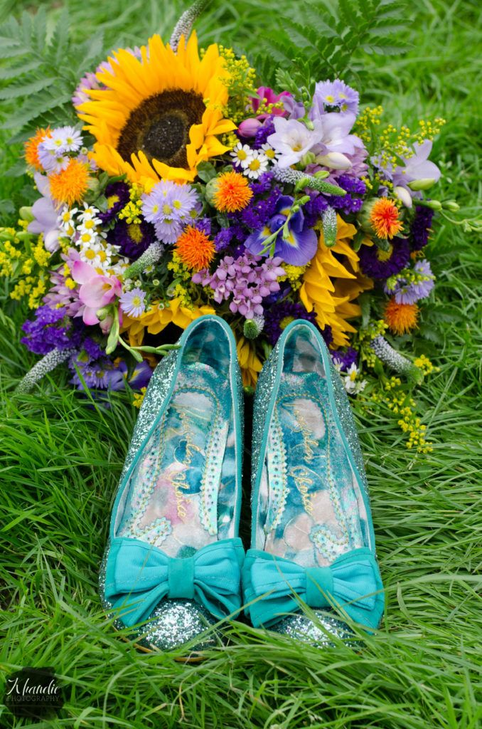 fresh summer flowers british wedding sparkling shoes.