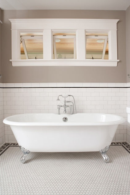 """Simple - Greek Key with plain white hex. Nice simple border on subways, too. """"This gorgeous claw-foot tub is handsomely surrounded by a black and white floor tile border. The tiling is in a Greek key pattern, and it was likely laid by a tiling professional. A slim border of black pencil liner adds to the theme."""" traditional bathroom by Clay Squared to Infinity"""