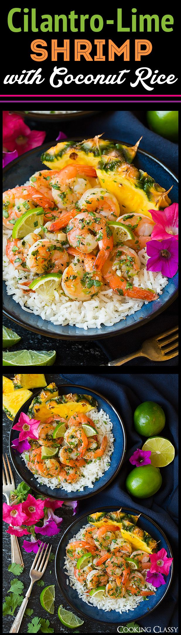 Cilantro Lime Shrimp with Coconut Rice - such a delicious, flavorful, EASY meal. Will definitely make this again and again.