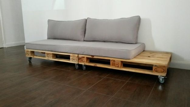 DIY Sofas and Couches - DIY Pallet Couch With Wheels - Easy and Creative Furniture and Home Decor Ideas - Make Your Own Sofa or Couch on A Budget - Makeover Your Current Couch With Slipcovers, Painting and More. Step by Step Tutorials and Instructions http://diyjoy.com/diy-sofas-couches