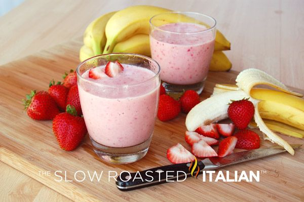 Strawberry Banana Smoothie ½ cup orange juice 1 cup non-fat plain yogurt 3 cup frozen sliced strawberries 2 medium banana, frozen and sliced (about 1 cup) ½ teaspoon vanilla extract  In a blender, combine the orange juice, vanilla, yogurt, strawberries, and banana.     Blend until completely smooth. Serve immediately. Enjoy!