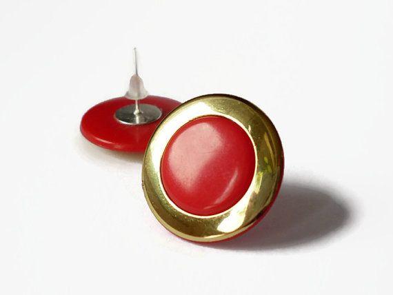 Tiny stud earrings ,Red post earring   by treasurecreator, $8.00