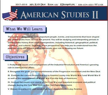 This syllabus is what I use on the first day of school. It includes a course description, the course objectives, instructional methods, classroom expectations, grading information, a rough timeline for the topics of study, and teacher information. It is a Publisher