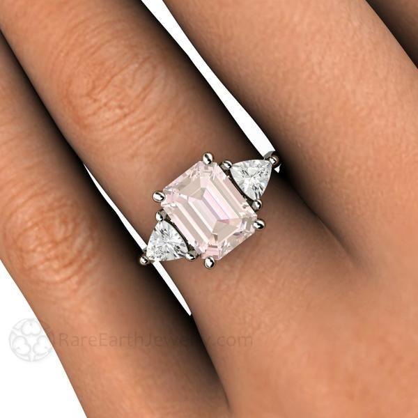 Vintage Style Three Stone Morganite Engagement Ring With Trillions Morganite Engagement Ring Vintage Three Stone Morganite Engagement Ring Morganite Engagement Ring