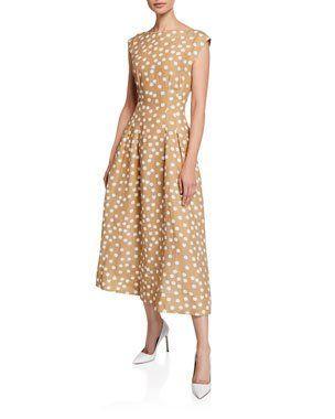 314cce656a B4T8V Escada Cap-Sleeve Polka-Dot Linen Dress