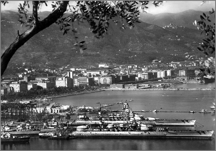 The Italian battelships Littorio and Vittorio Veneto at La Spezia harbor with their main guns cut off and ready to be scrapped , sad way to go…