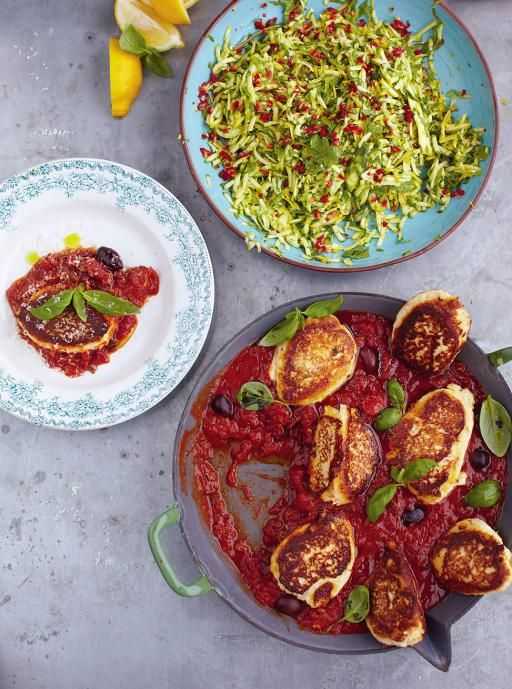 Ricotta fritters with tomato sauce & courgette salad Read more at http://www.jamieoliver.com/recipes/cheese-recipes/ricotta-fritters-with-tomato-sauce-courgette-salad/#mltrQbAvoEJdLoeO.99