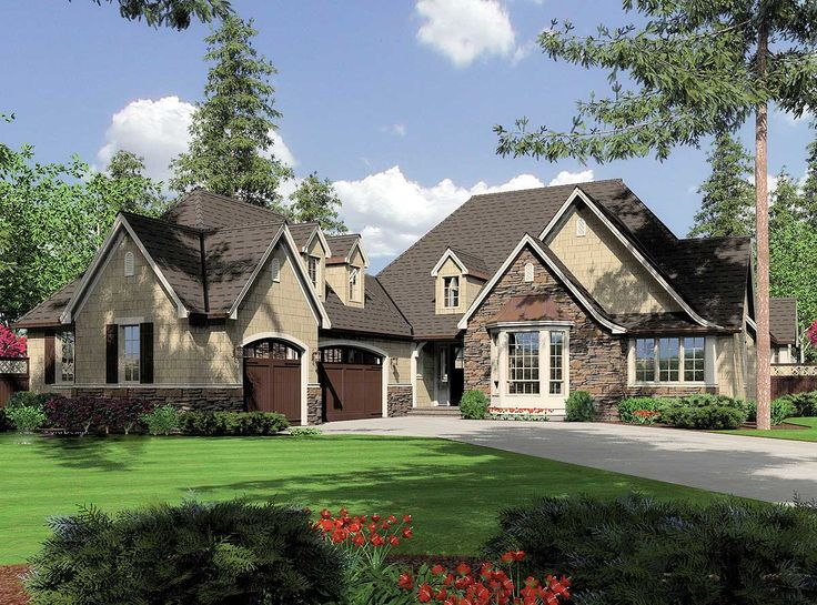 <ul><li>Reminiscent of a charming English country home, this one-story home proves the ease and convenience of living on one level. A side-entry garage creates a courtyard-like entrance to the home. If constructed of brick, stone, or stamped concrete, the driveway makes an elegant companion to the cottage-inspired fa'ade. </li><li>In the main living zone just off the foyer, a large, beam-topped great room feeds directly into an open kitchen, dining room, and quaint sitting area. Bump-out…