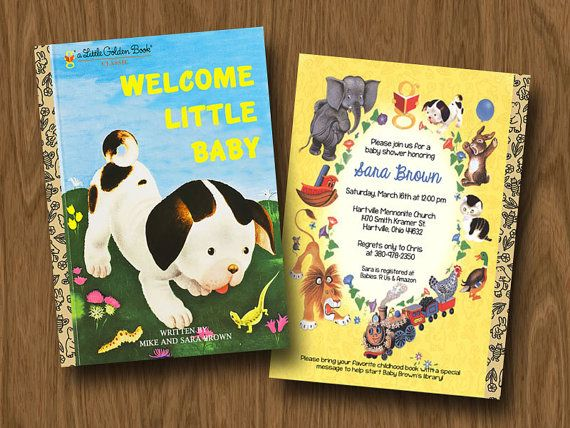 Little Golden Books Inspired Baby Shower Invitation - Poky Little Puppy - Book Shower - Book Party via Etsy