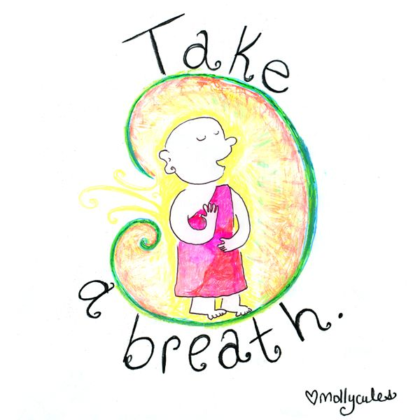 Buddha Doodle - 'Take A Breath' Books, Prints, and Teeshirts available at www.buddhadoodles.com