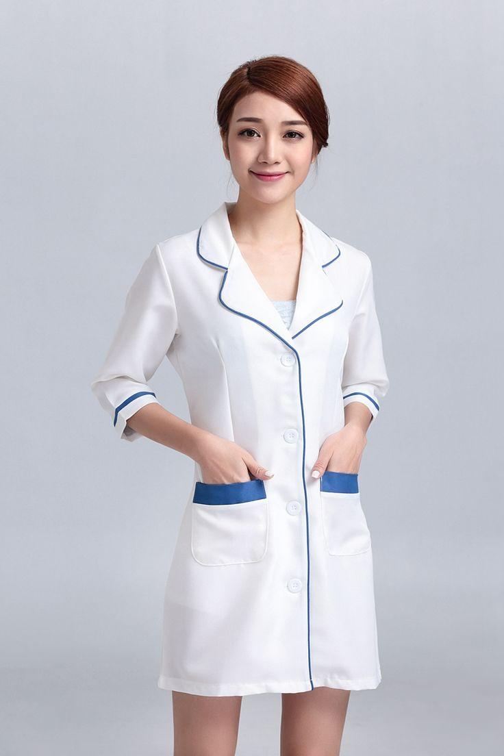 White pinafore apron nurse - Women S Hospital Nursing Uniforms Overalls Gowns Outfit Suits White Coat Lab Coat Medical Technician