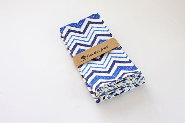Blue Chevron Cloth Napkins // Set of 4 Royal Blue Cotton Dinner Napkins // Eco-friendly 100% Cotton Twill Fabric by GenesisAire on Etsy https://www.etsy.com/listing/262648490/blue-chevron-cloth-napkins-set-of-4