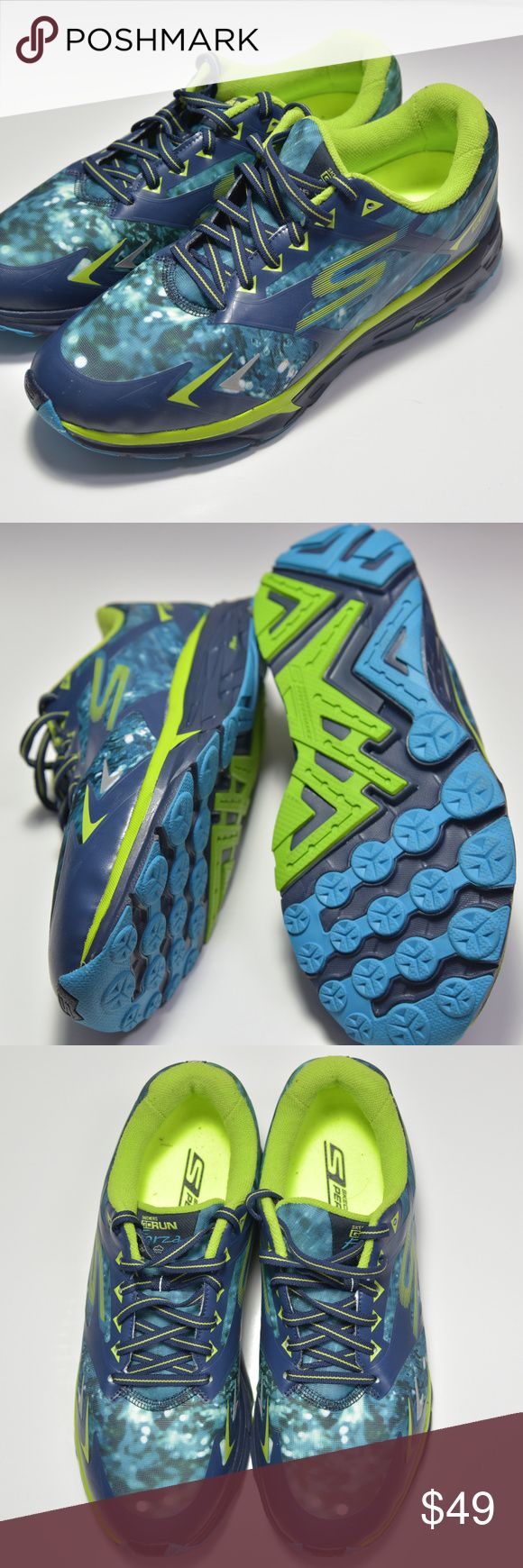 NEW! Sketchers Go Run Forza Climate Series US 10.5 Brand new pair of men's Skechers Go Run Forza running shoes. Men's US size 10.5. Navy and lime. Seamless, minimal upper, provides comfort and breathability. See photo for details. **Please be sure of size before purchase. No return shipping paid because of size error. New without box!** Skechers Shoes Athletic Shoes