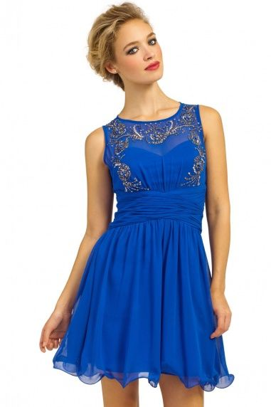 Blue Heavily Embellished Prom Dress