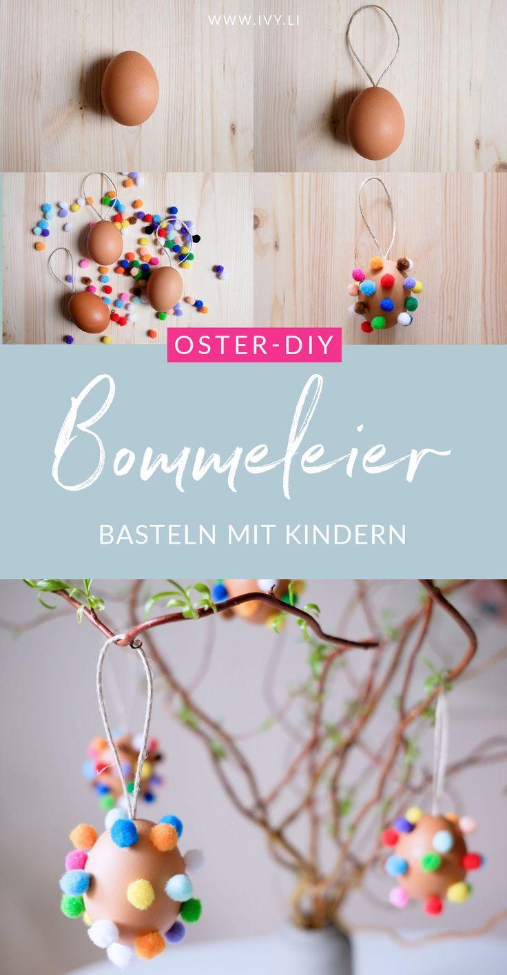 DIY Bunte Bommeleier   Osterdeko basteln   Ostereier mit bunten Bommeln   Anleitung   Basteln mit Kindern   Ostern   Osterzweig   #ostern #basteln #diy   Mehr auf https://ivy.li