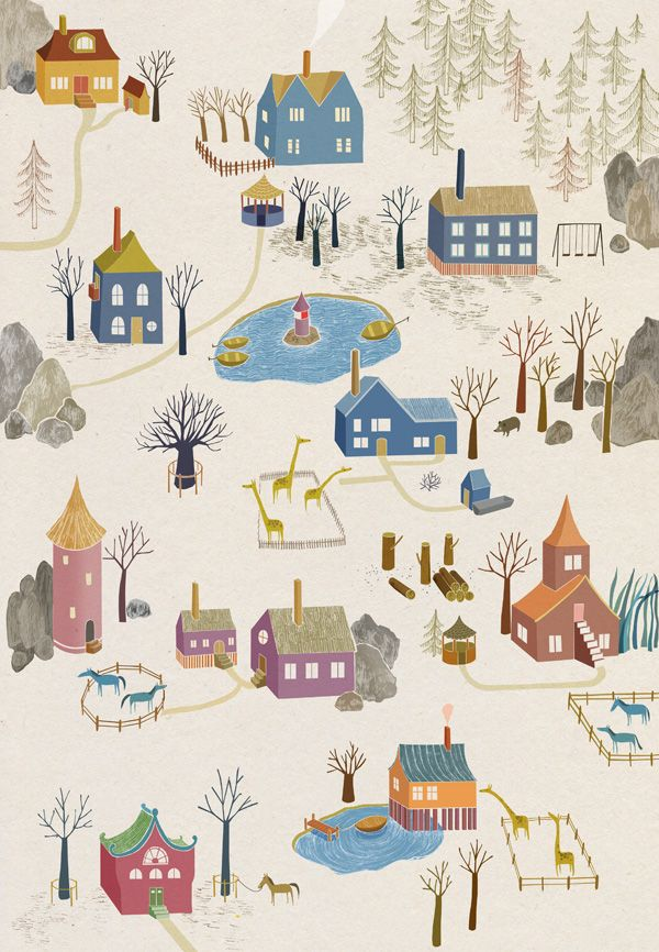 """""""the little village by ulrika kestere""""  I repinned this because the artist's name is ALMOST identical to mine"""