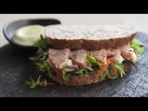 Torched Salmon Japanese Sandwich - Goodman Fielder Food Service Recipes - YouTube