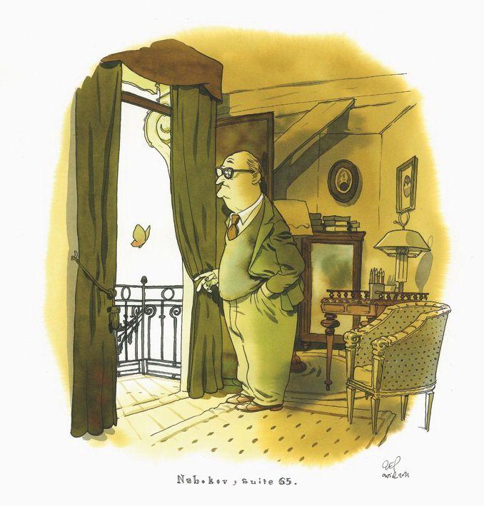 """Zep, Nabokov, série limitée à 5 ex, 2014 Série réalisée en exclusivité pour Janus Gallery dans le cadre de l'exposition """"Zep à Montreux"""". Tirage Laurent Cochet."""