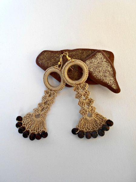orecchini pendenti all'uncinetto di L'Alabastro Creazioni su DaWanda.com