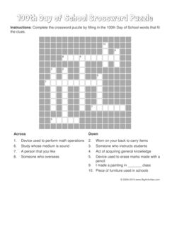 100th Day of School crossword puzzle that changes each time you visit.