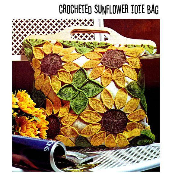 Vintage Crochet Pattern 1970s Sunflower Tote by 2ndlookvintage, $3.50