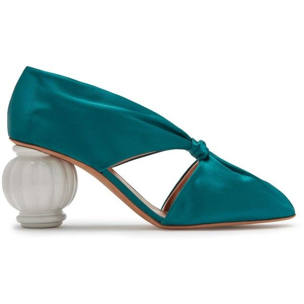 Mulberry Draped Pump (42,625 INR) ❤ liked on Polyvore featuring shoes, pumps, petrol blue, satin pumps, blue shoes, mulberry shoes, blue pumps and blue satin shoes