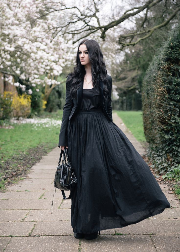 Fashion blogger Stephanie of FAIIINT wearing Todd Lynn for Topshop tux jacket, Reiss tank top, FAIIINT cotton lawn full maxi skirt, RockLove sacred geo collar necklace, Balenciaga city bag. All black floaty gothic outfit.