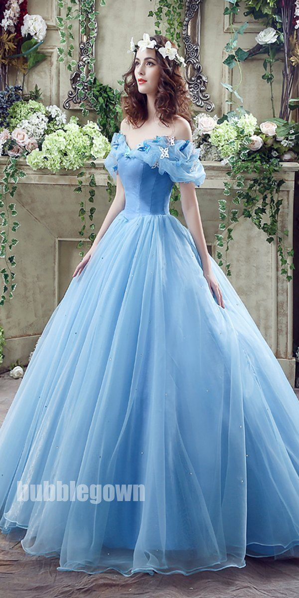 cb8d7712ea72f Popular Off the Shoulder Blue Lace Up Back Long Prom Dress Ball Gown ...