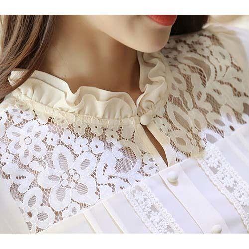Beige floral lace hollow cut long sleeve chiffon shirt | Free shipping | Womens clothing online | 1057WCLO