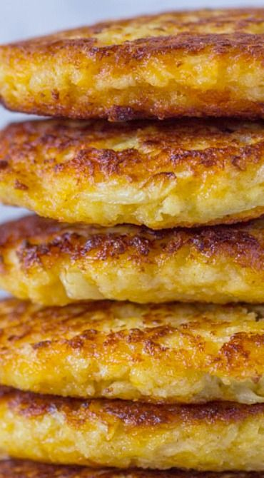 Cauliflower Cheddar Fritters (Pancakes)- use pork rinds instead of bread crumbs to make it keto friendly!