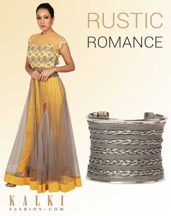 ADD SOME RUSTIC ROMANCE TO YOUR WARDROBE!  Put together this contemporary grey and yellow anarkali with this chunky metal arm candy!  Shop anarkali: http://tiny.cc/i8fgsx Shop bracelet: http://tiny.cc/08fgsx