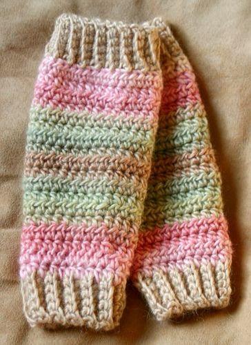Calentadores a crochet para niña