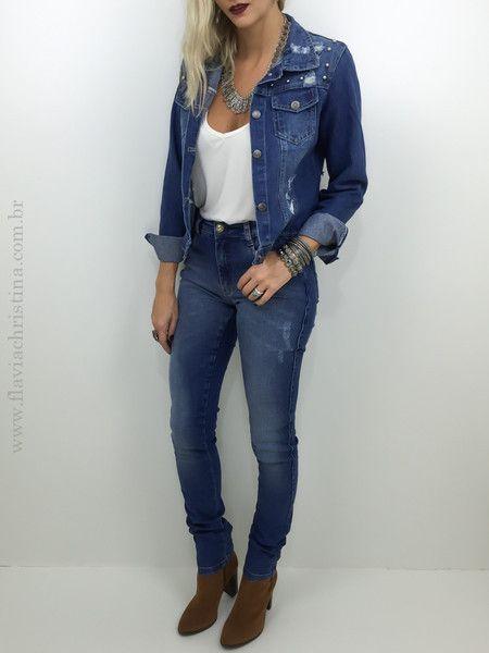 Calça jeans skinny tradicional - Flávia Christina