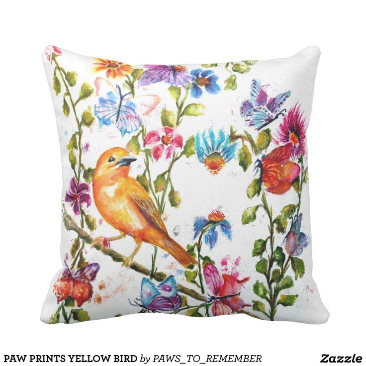 Yellow Bird Throw Pillows : Paw prints yellow bird throw pillow Watercolors, Girlfriends and Toss pillows