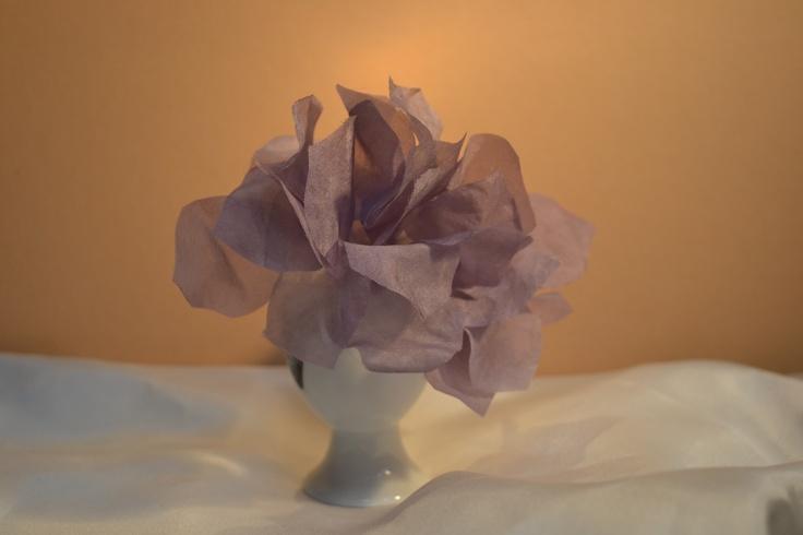 Hydrangea in silk habutai.  Finer than the satin.