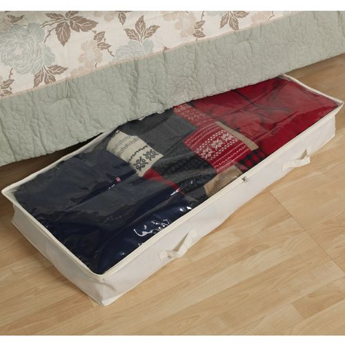 Easily store sweaters comforters and more under your bed when you have the Canvas Under Bed Storage Box