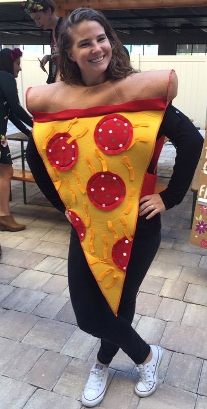 Food costumes are trending, like this pizza look.