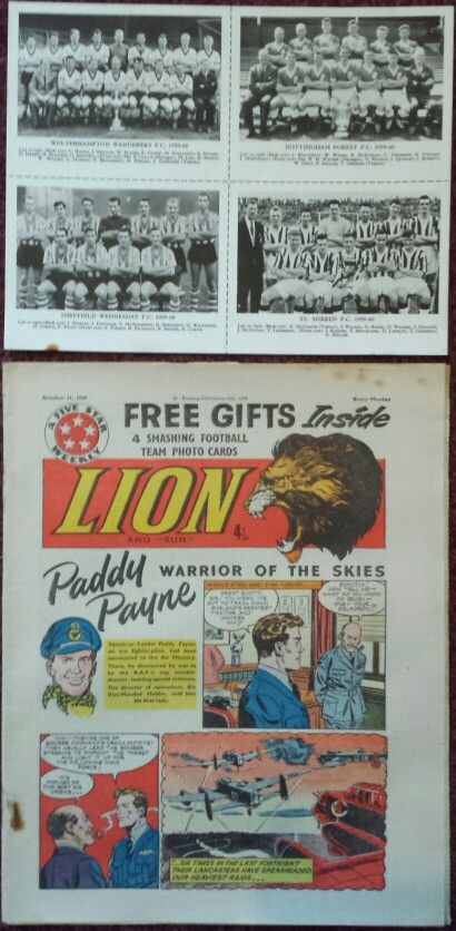 Lion Comic Oct 31st 1959 with Football Team Photo Cards of Wolverhampton Wanderers FC (1959 - 1960), Nottingham Forest FC (1959 - 1960), Sheffield Wednesday FC (1959 - 1960) and St. Mirren FC (1959 - 1960).