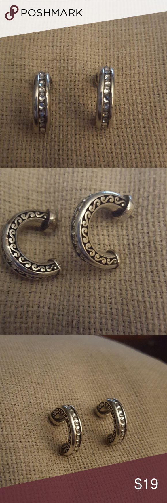 Ageless BRIGHTON earrings! Great hoops with crystals in the front. They look like diamonds Brighton Jewelry Earrings