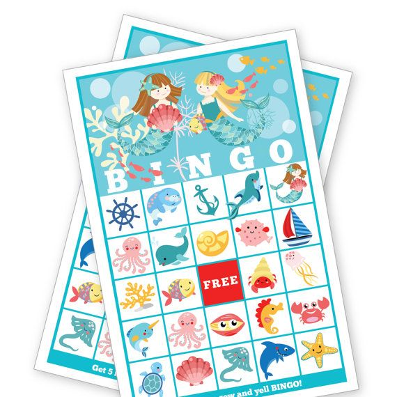 This adorable Mermaid Bingo game is a perfect touch to bring a little extra fun to your birthday party! The listing comes with 24 different bingo cards and calling pieces. Game instructions are simple, pick some kind of object or candy to mark your squares. Give each player a bingo card and markers (candy, cheerios, small seashells, etc.). Have each player put a marker over the free space. The caller will draw a calling piece and announce the item. Each player will cover that item on their…