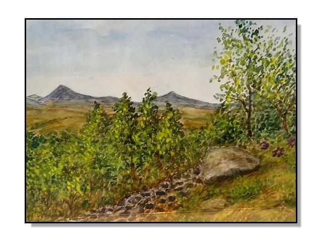 Volcanic landscape of the Bohemian Central Highlands, the view from the hillside of the Boreč Milešovka and Kletečná. Watercolor by Jana Haasová