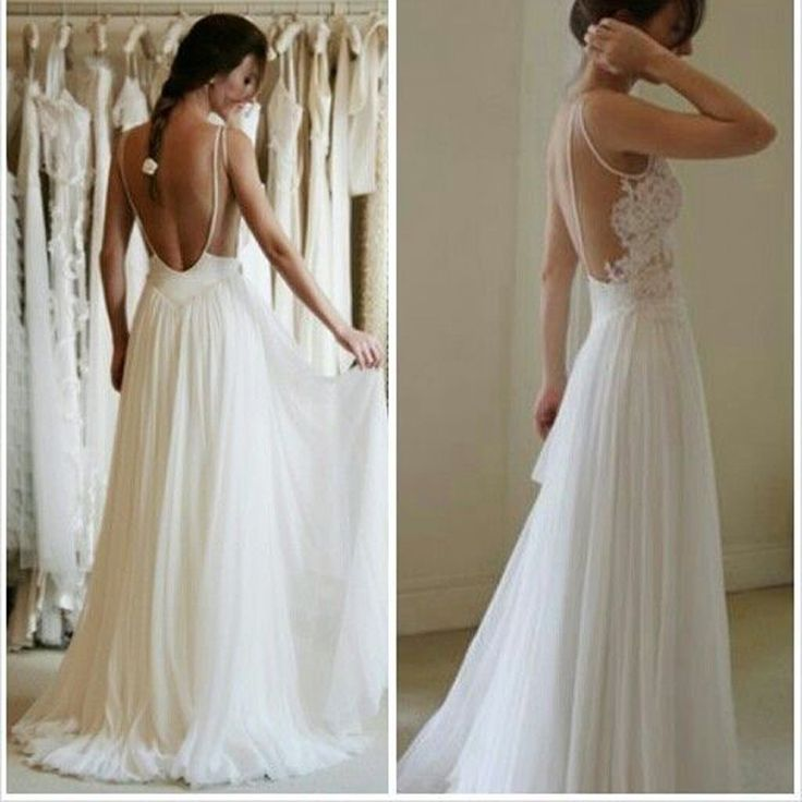 Cheap Summer Simple Illusion Strap Sexy Backless Lace Chiffon Elegant Popular Wedding Party