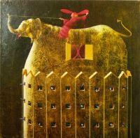 """A. Palazzini, """"Il grande predicatore è in viaggio con l'elefante"""", 2012, oil on canvas, cm 115 x 115"""