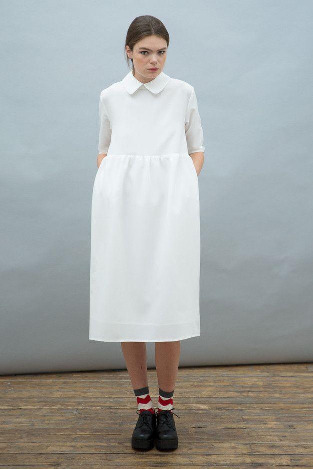 THE WHITEPEPPER Oversized Midi Smock Dress with Collar Ivory | Sumally
