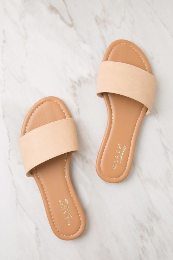 Beige imitation leather slide sandal