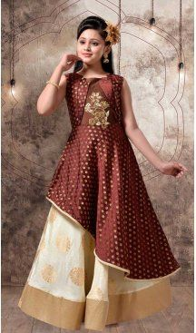 Brown & Off White Color with Jecard Silk Fabric,  Exclusive Designer Kids Gowns | FHK13525684