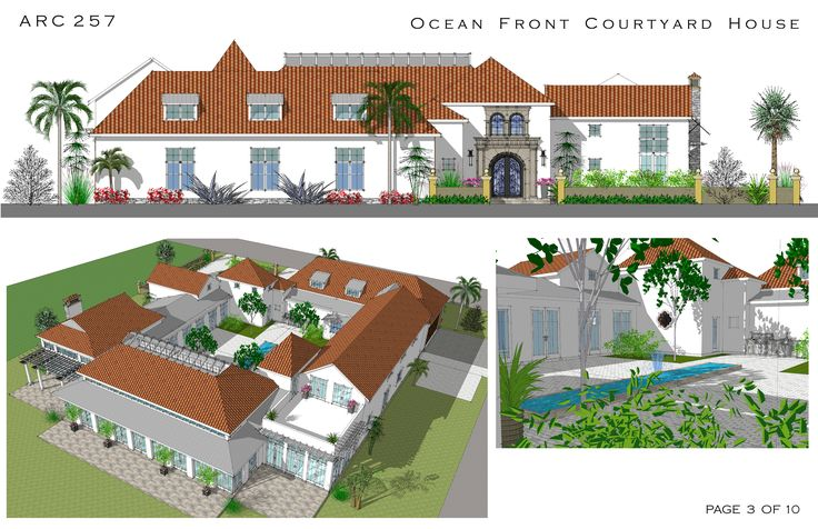 Spanish style courtyard homes cocoa beach florida Hacienda house plans with courtyard