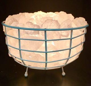 White Himalayan Salt Round Basket available to purchase online at www.inspiremenaturally.com.au / Buy Himalayan salt lamps online / Afterpay available
