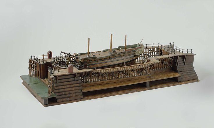 Model van het droogdok te Vlissingen, 1783, onderdeel van de Marinemodellenkamer van het Rijksmuseum in Amsterdam.
